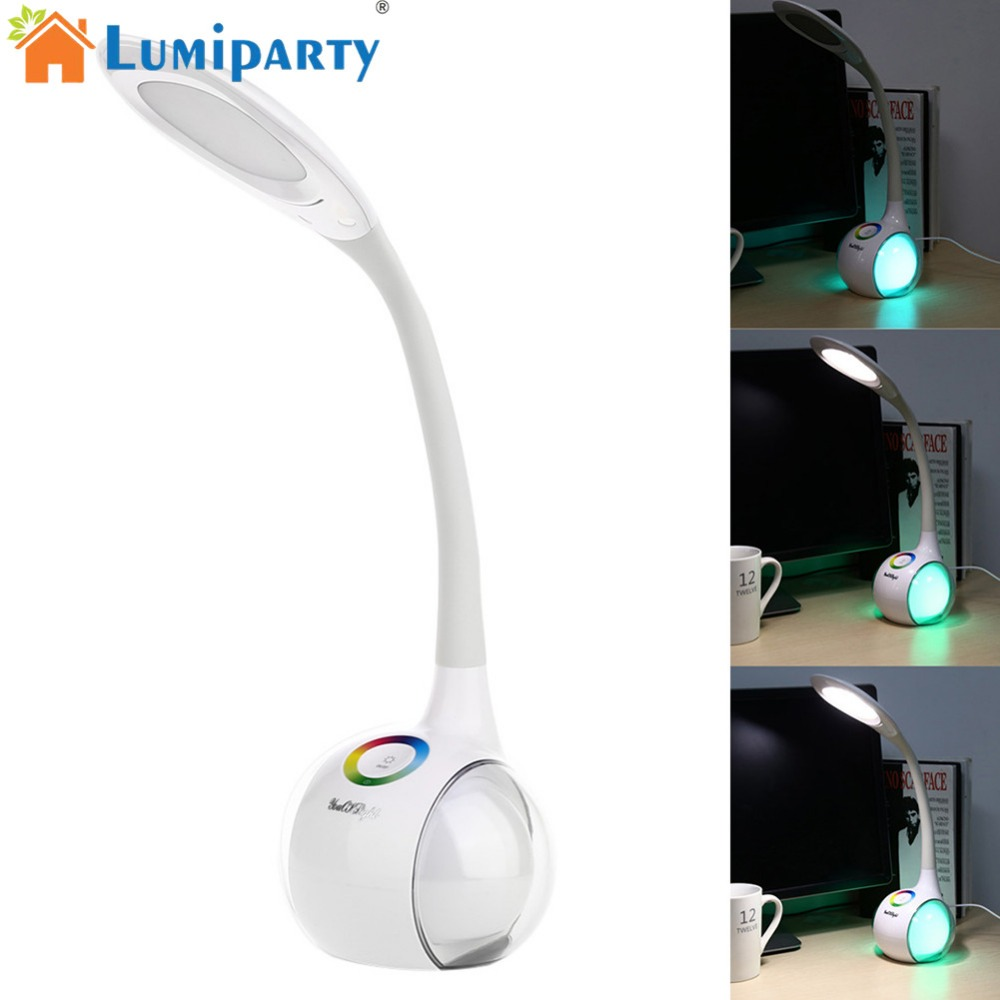 LumiParty USB Charging 34 LED Table Light Intelligent Lamp Colour-Changing Pedestal Flexible Goose Neck Bed Lamp Decoration Gift usb powered flexible neck 10 led white light lamp blue 27cm