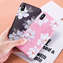 For iPhone 6 6S 7 8 Plus X Case Silicone Flower Pink Slim Elegant Girl Phone Cover Case For iPhone 7Plus 8Plus 10 Soft TPU Case