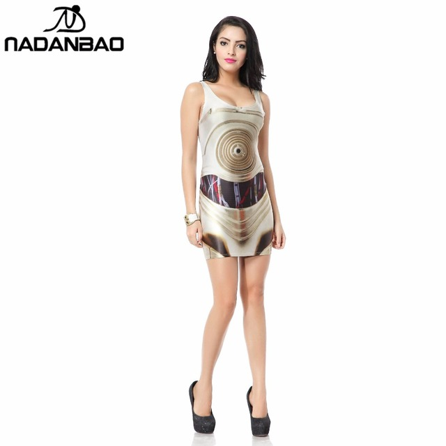 NADANBAO Summer Star Wars Artoo New Print Women bandage dresses Women Sexy Sleeveless Bodycon dress Party Cub Clothing