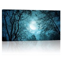 Modern Wall Art,Full Moon Forest Giclee Canvas Prints,Landscape Painting Prints, Peace Autumn Forest Night Scenery Wall Artwork