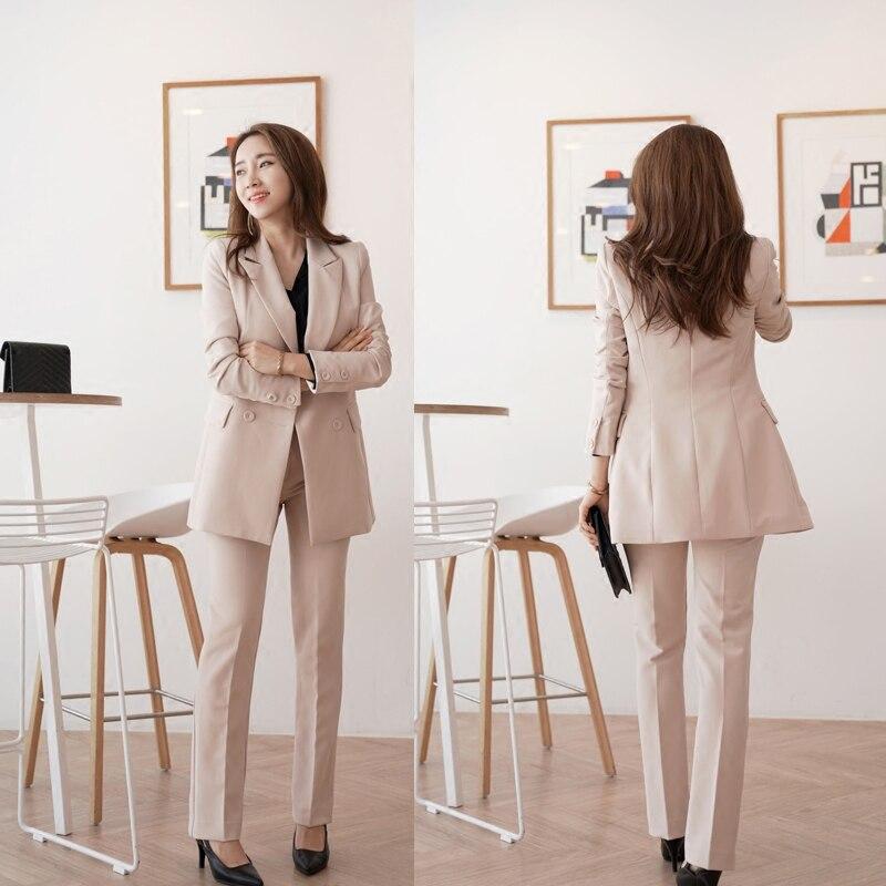 Femmes Blazer Pièces Double Lady D'affaires 2 Tenues De Pantalon Veste Et Ensembles Droit Pantalons Breasted Costumes Office 1 Costume fafxXr
