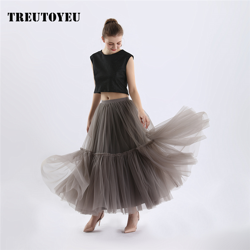 Super Soft Tulle Skirt Hand made Grey Maxi Long Pleated Skirts Womens Vintage Petticoat lange rok