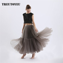 Super Soft Tulle Skirt Hand-made Grey Maxi Long Pleated Skirts Womens Vintage Petticoat lange rok jupes falda(China)