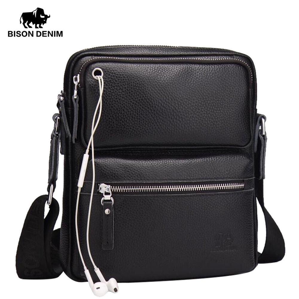 Bison Denim Genuine Leather Men S Bag Brand Black Business Male Messenger Bags Man Crossbody For Ipad N2533