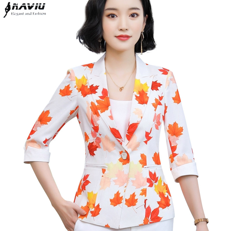 On Trend And Elegant Looks For: New Fashion Elegant Style Maple Leaf Printed Small Jacket