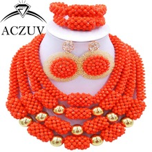 Orange Coral Color Crystal Nigerian Wedding African Beads Jewelry Set Luxury AN006