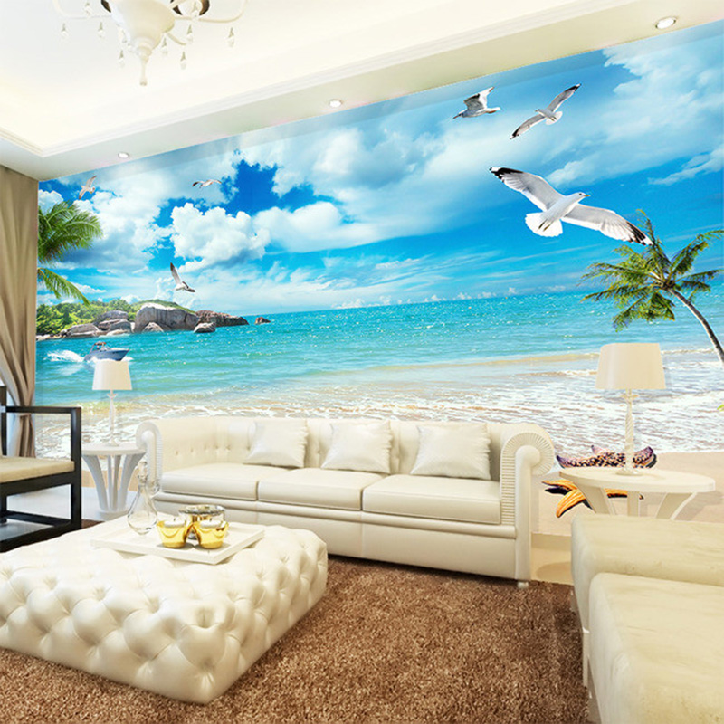 3D Wallpaper Beautiful Beach Seaside Landscape Nature Mural Living Room TV Sofa Backdrop Wall Home Decor Non-Woven Wall Paper 3D