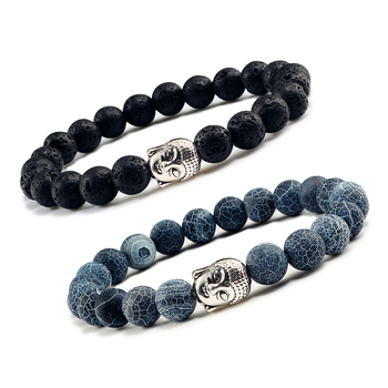 Classic Sliver Plated Buddha Beads Bracelets&Bangles Charm Men Black Natural Volcanic Stone Strand Bracelet Women Prayer Jewelry