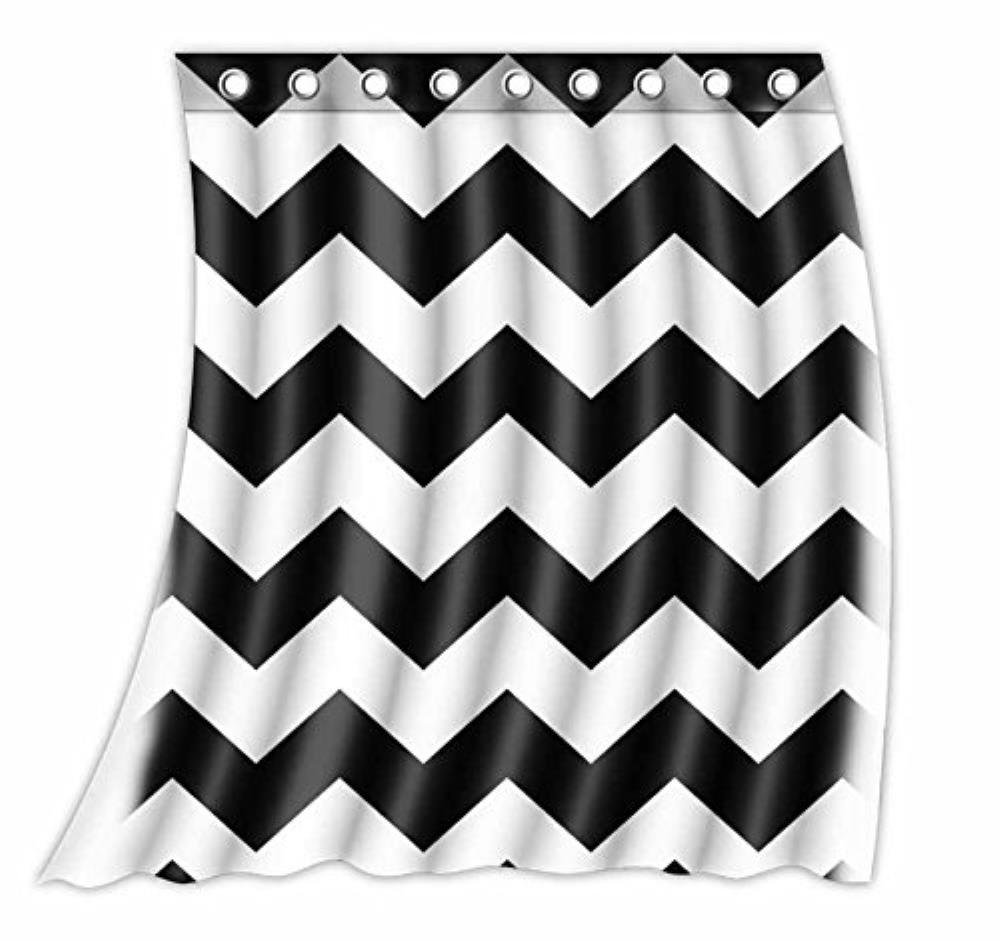 Custom Chevron Pattern Black White Pattern Curtain Polyester Fabric Window  Curtain Size 52wx63h (One Piece