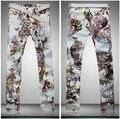 2016 Borboleta Flor Floral Print Designer da Marca Dos Homens de Moda Casual Calça Jeans Reta, Nova primavera Frescos Night Club Jeans