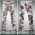 2016 Men's Brand Butterfly Flower Floral Print Designer Casual Fashion Straight Jeans Pant, Spring New Cool Night Club Jeans
