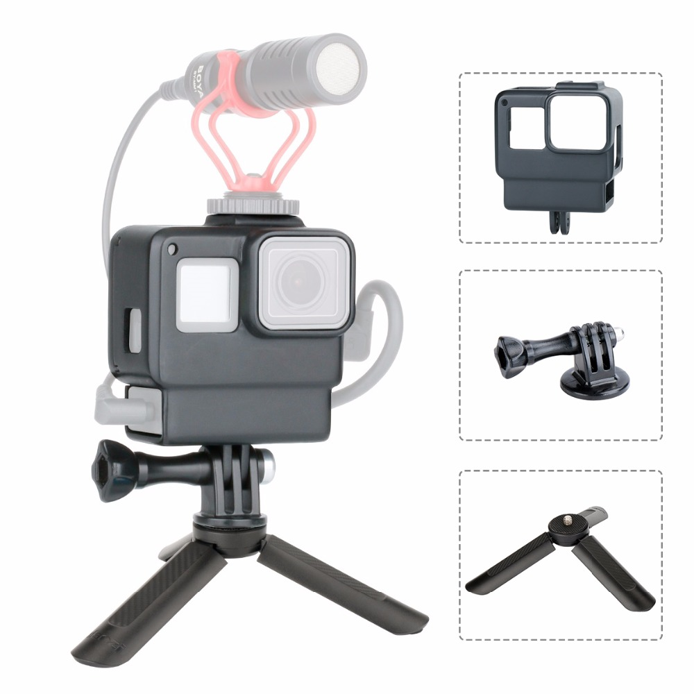 Go Pro Vlogging Housing Case Frame Cover with Cold Shoe Mount for GoPro Hero 7 6 5 to Rode Videomico Boya BY-MM1 MicrophoneGo Pro Vlogging Housing Case Frame Cover with Cold Shoe Mount for GoPro Hero 7 6 5 to Rode Videomico Boya BY-MM1 Microphone