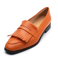 Qianruiti 2019 Spring Style Outdoor Fashion Show Dress Men Shoes Handmade Fringe Tassel Decorated Orange Casual Shoes for Men