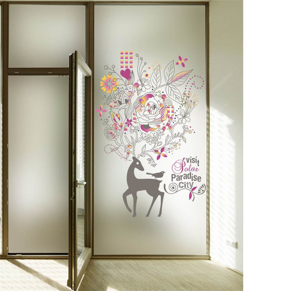Deer Flowers Film Window Sliding Glass Door Self Adhesive Film
