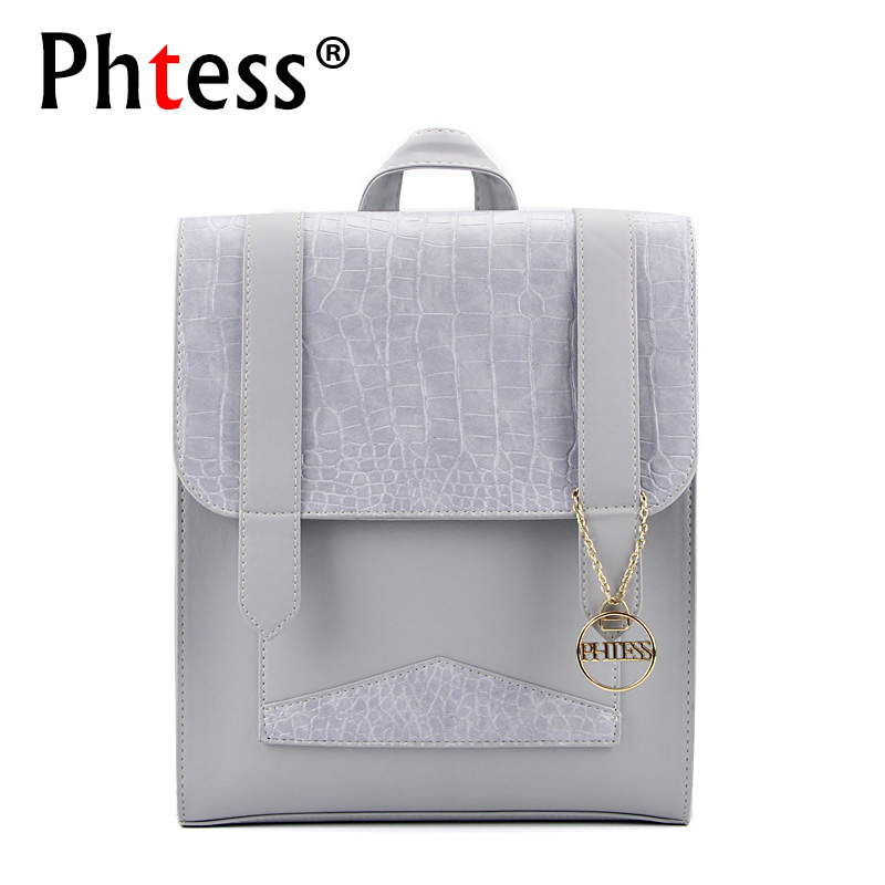 PHTESS Women School Backpack For Teenage Girls Backpacks For School Bag ladies Sac a Dos Retro Alligator leather women backpack fashion genuine leather backpack women school bags for teenage girls backpacks high quality rivet ladies backpack sac a dos 2018
