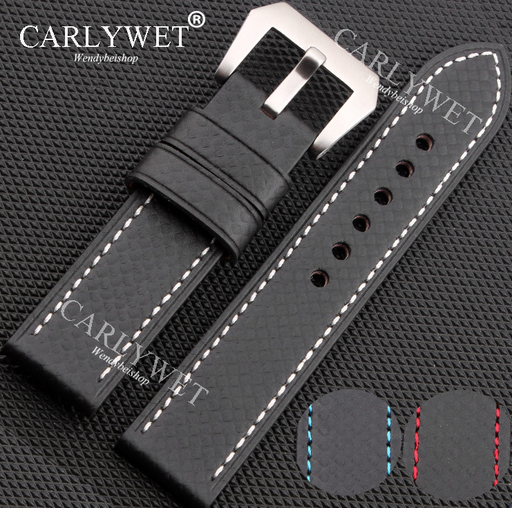 все цены на CARLYWET 20 22 24 26mm Black with White Red Blue Stitch Handmade Thick VINTAGE Wrist Watch Band Band Strap Belt Screw Buckle онлайн