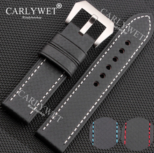 CARLYWET 20 22 24 26mm Black with White Red Blue Stitch Handmade Thick VINTAGE Wrist Watch Band Strap Belt Screw Buckle