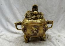 7″ China brass copper fine Buddhism nine dragons incense burner Sculpture Statue