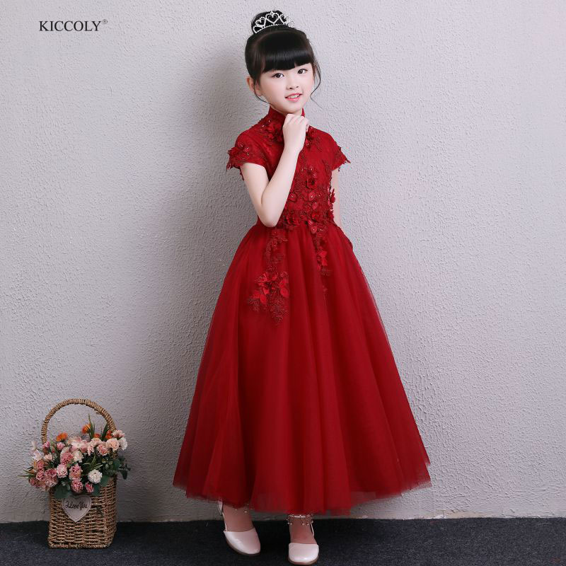 KICCOLY Girls Dresses 2018 Fashion Kids Girls Dress Red Princess Dress Fashion children's Summer Party Gown For 1 2 3 4 5-14Y fashion 2016 summer dress party dresses women print corset vintage spaghetti strap full dress suspenders dress woman s gown