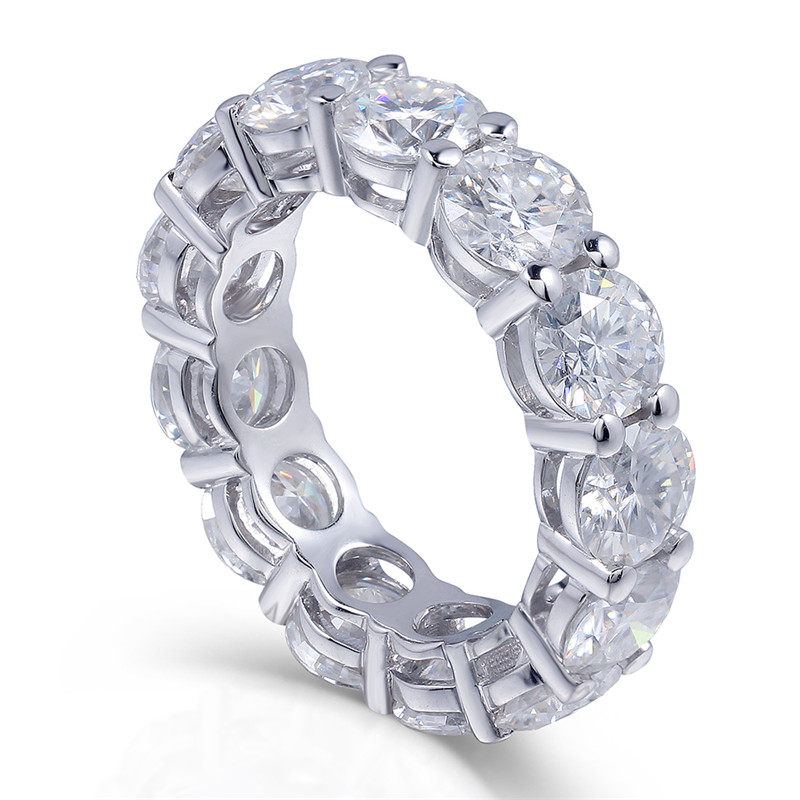 choucong Eternity Ring Round 6MM 5A Zircon Sona Cz 925 Sterling Silver Engagement Wedding Band Rings for Women Men Fine Jewelry