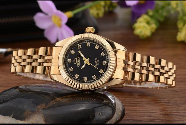 CHENXI Brand Top Luxury Ladies Gold Watch Women Golden Clock Female Women Dress Rhinestone Quartz Waterproof Watches Feminine