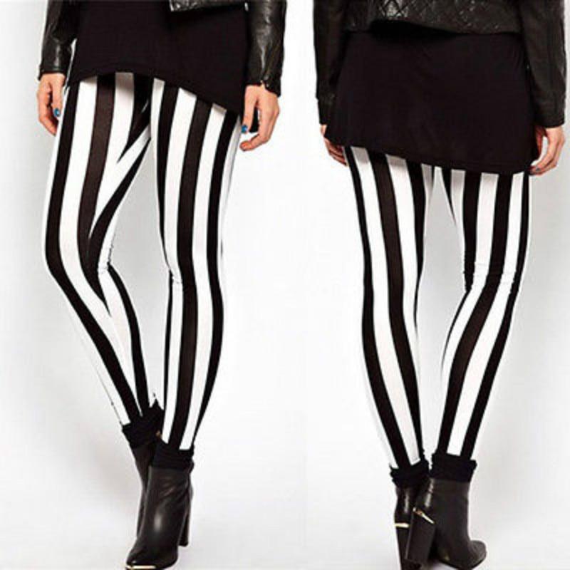 2017 New Fashion Plus Size Women Casual Schwarz Weiß Streifen Stretch Leggings Casual Lange Hosen Xl-xxl Exzellente QualitäT