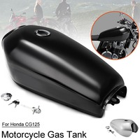 Motorcycle Universal Vintage 9L 2.4 Gal cafe racer Fuel Gas Tank with Thick Iron Cap Switch Kit For Honda CG125 CG250 CG 125