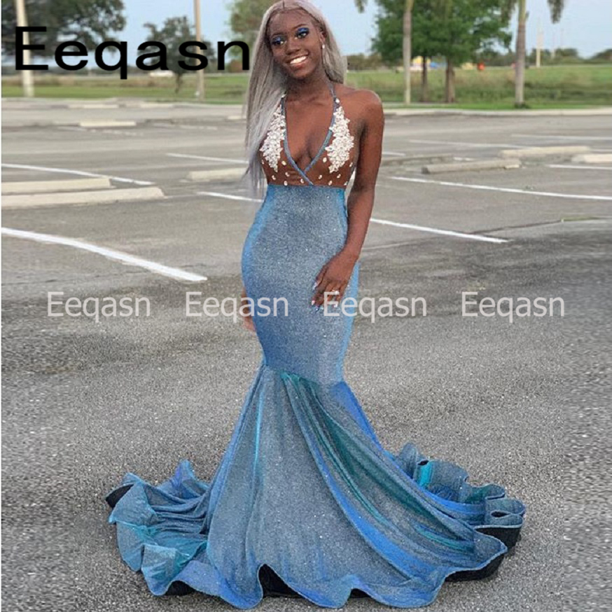 c8123f84d26 Long Prom Dresses 2019 Sexy Backless Mermaid Style Elegant V Neck African  Black Girl Women New Prom Dress Evening Gala Gowns-in Prom Dresses from  Weddings ...