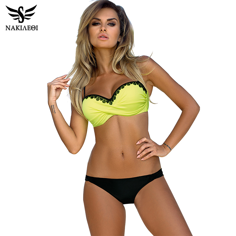 NAKIAEOI 2019 Newest Sexy Bikini Women Swimsuit Push Up Bikini Set Lace Up Retro Beach Bathing Suit Plus Size Swimwear Swim Wear