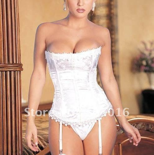 Lady's Sexy Lace Corset Bustier Costume Lingerie + G ...