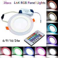 20pcs Hot Sales Colorful LED Panel Downlight 6W 9W 18W 24W RGB Panel Light AC85 265V
