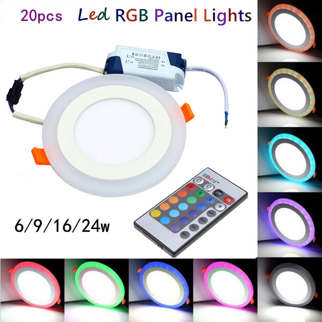 20pcs Hot sales colorful LED Panel Downlight 6W 9W 18W 24W RGB Panel Light AC85-265V Recessed Ceiling Lamp led Ceiling lamp