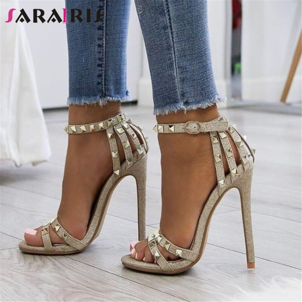 SARAIRIS New Big Size 47 Sexy Thin High Heels Rivets Women Shoes Sandals Woman Bling Lady Summer Party ankle-strap Shoes Woman