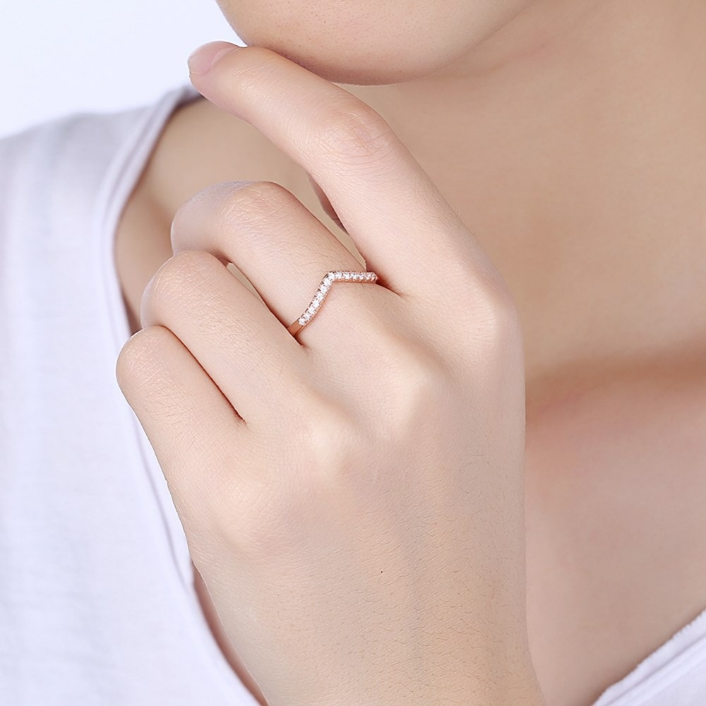 Thomas Rose Gold Color Inlay Micro Zirconia Love Heart Rings For ...