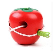 Montessori Wooden Toys The Caterpillar Eats The Apple Funny Toys For Kids Early Educational Toy Baby