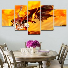 Fairy Tail Natsu Anime 5 Pieces Home Decor Wall Canvas Art For Living Room Paintings on