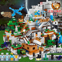 My world Model Minecrafted Building Blocks Compatible LegoINGLY The Mountain Cave With Elevator Bricks Toys For Children Gifts