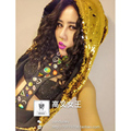 FREE SHIPPING Sexy Queen Custom Made Scale Sequin Scarves Hat Handmade Colorful Rhinestone Black Bodysuits Performance Costume