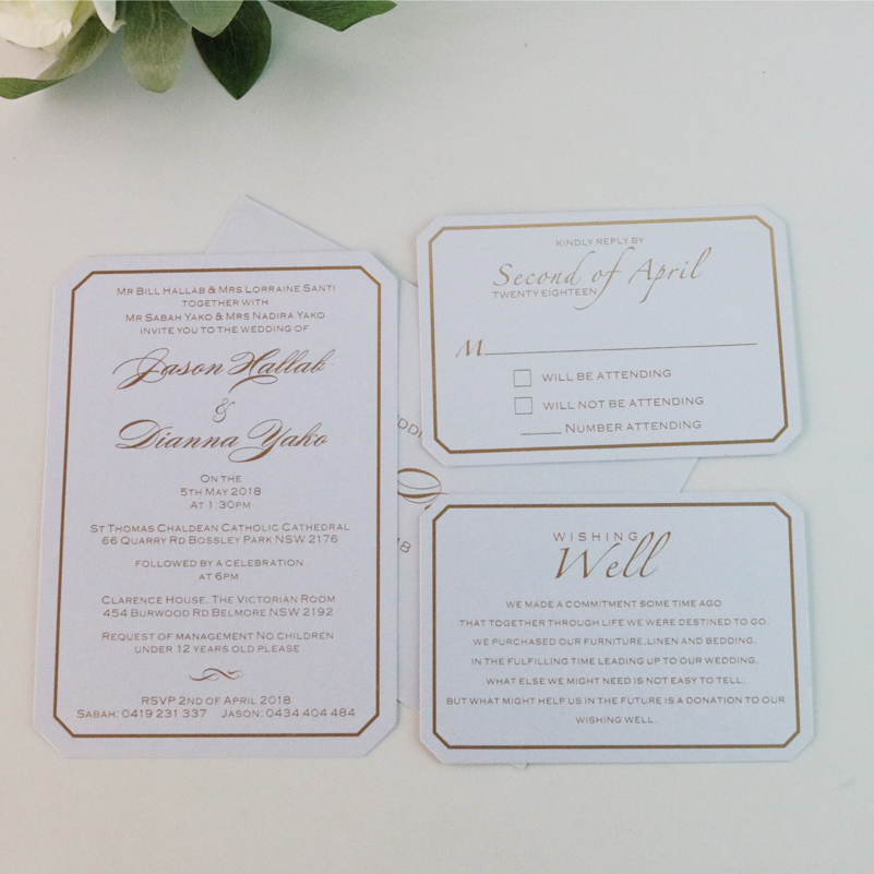 Us 184 99 50sets Personalized Rose Gold Foiled Wedding Invitation Cards And Rsvp Wishing Well In Invitations From Home Garden