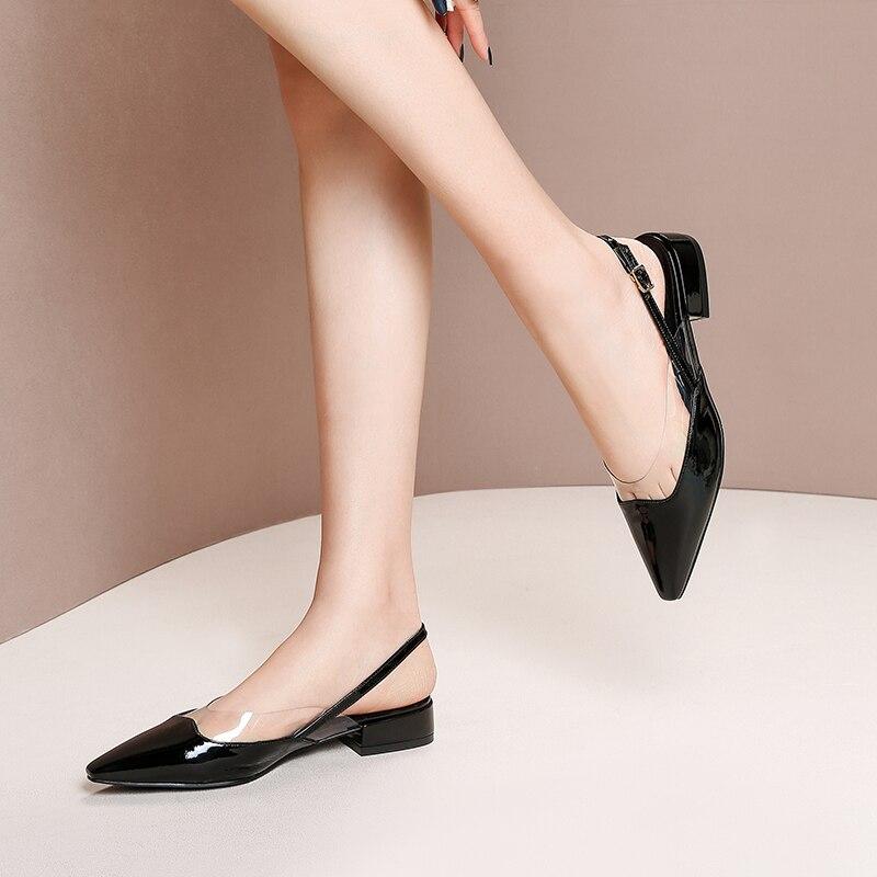 Superstar ufficio della signora in pelle di mucca tacco basso sandali delle donne punta a punta poco profonda dolce elegante fibbia scarpe da sposa taglia 43-in Scarpe con tacco basso da Scarpe su  Gruppo 3