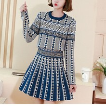 Winter Autumn Geometric Prints Casual Sweater Skirt Suit Pullover Knitted Sweater Skirt Women Fashion Two Piece Sets