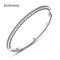 2017 NEW Authentic 925 Sterling Silver Radiant Hearts Of 7 Colors Enamel Clear CZ Bangles Bracelets