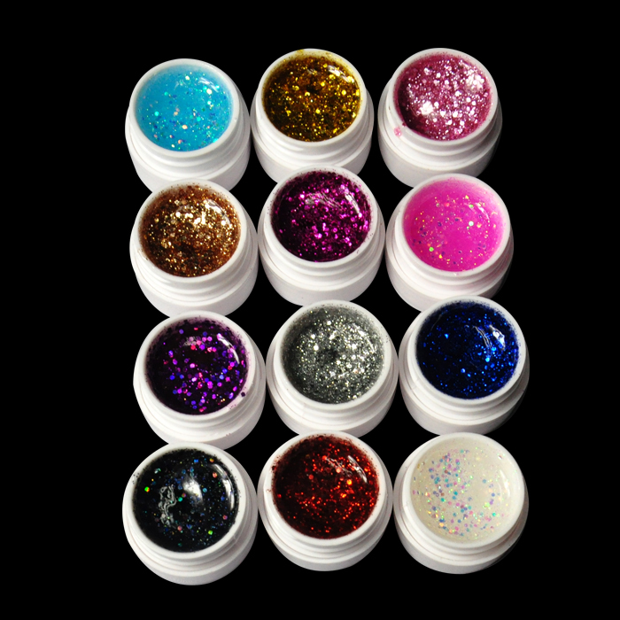 12pcs 12 Colors glitter UV GEL Extension Manicure DIY Builder Nail Art Tips Polish Design For Women Nail Beauty Art Salon 3d 12 candy colors glass fragments shape nail art sequins decals diy beauty salon tip free shipping
