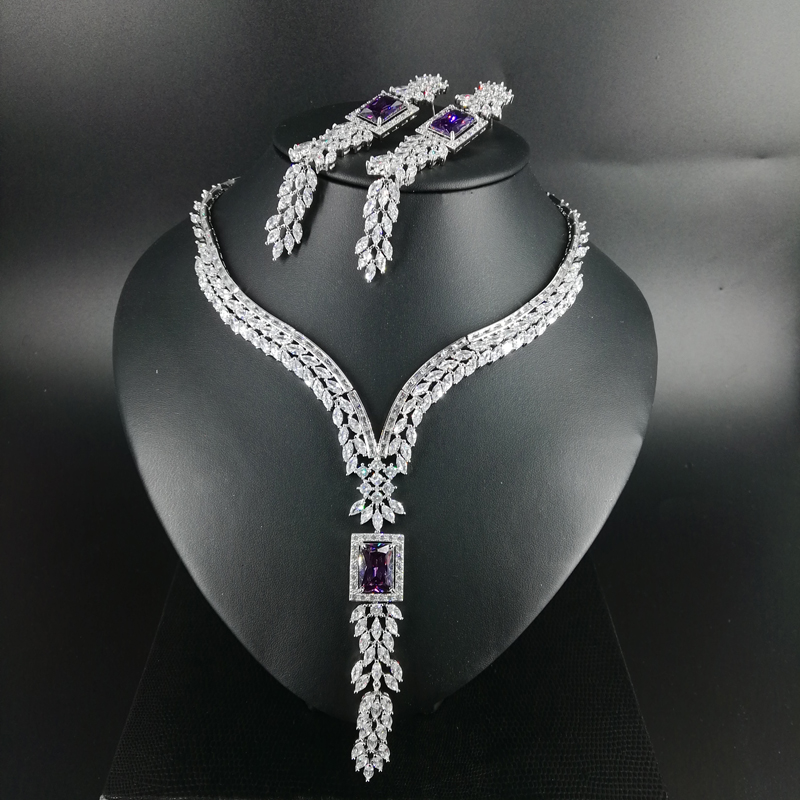 NEW FASHION vintage V style purple square zircon necklace earring wedding bride banquet formal dress jewelry