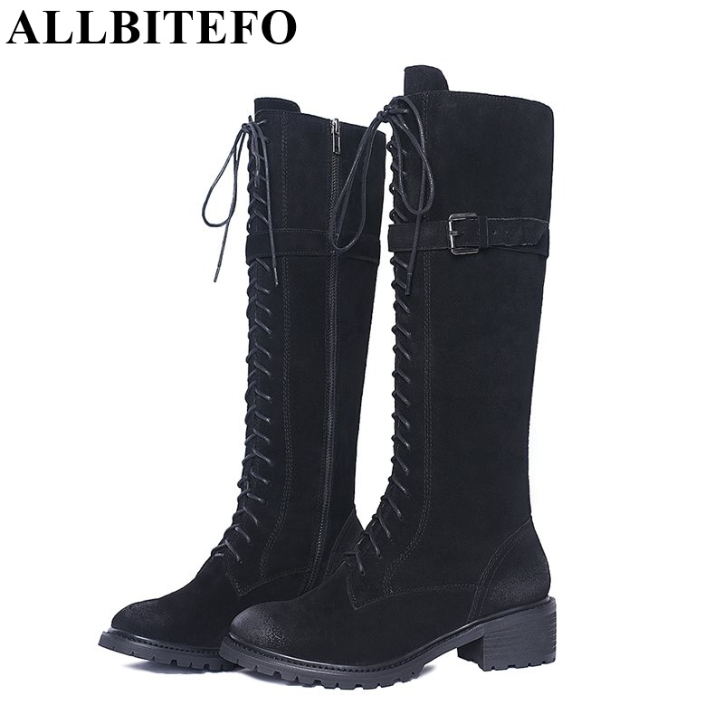 ALLBITEFO Large size knot thick heel women boots genuine leather thigh high boots zip winter women knee high boots femme bottes allbitefo full genuine leather mixed colors chains design fashion brand women knee high boots winter snow zip women boots