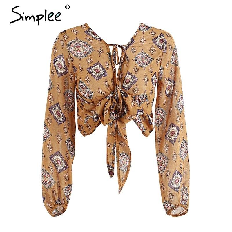 Simplee Deep V Neck Print Chiffon Blouse Shirt Women Long Sleeve Bow Tie Blouse Crop Top Summer Drawstring Blouses Blusas 2018