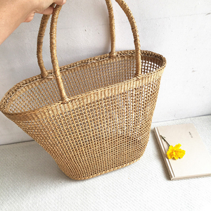 Image 3 - 2018 Simple And Generous No Decorative Plain Color Net Hollow Textured Woven Bag Popular Straw Bag Handbags 37x25CM