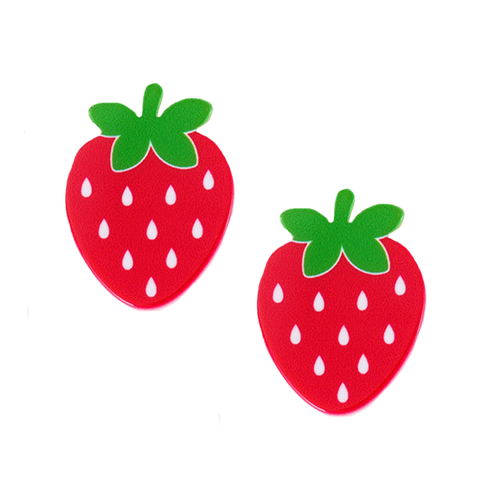 DIY Resin Craft 20Pcs Kawaii Red Strawberry Fruit Planar Resin Kids Little Girls Princess Flatback Cabochons 34*28mm