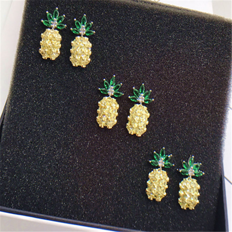 49a6cfb4748ed3 HYBZH Fashion three colors Pineapple Earrings Tropical Fruit Stud Earring  for Women Girl Gift Wedding Jewelry-in Stud Earrings from Jewelry &  Accessories on ...