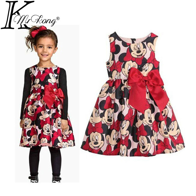 2016 Cartoon polka dot toddler girl dresses minnie robe de princesse petite fille baby party frock clothes vestido minnie dress